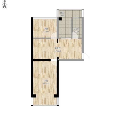 妇联小区2室1厅1卫1厨77.00㎡户型图