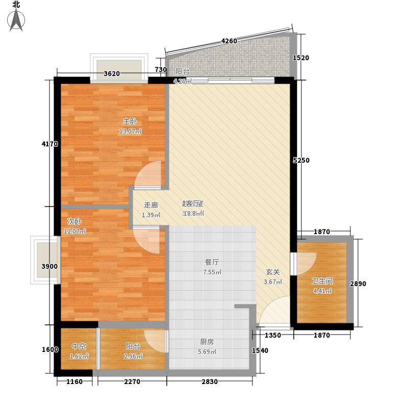 枫蓝国际83.77㎡A2户型2室2厅1卫1厨
