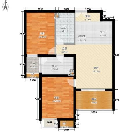 新兴骏景园三期2室0厅1卫1厨91.00㎡户型图