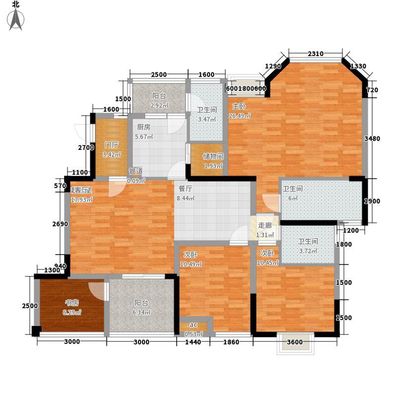 南方玫瑰城122.21㎡二期白瑰苑5栋标准层1号房户型