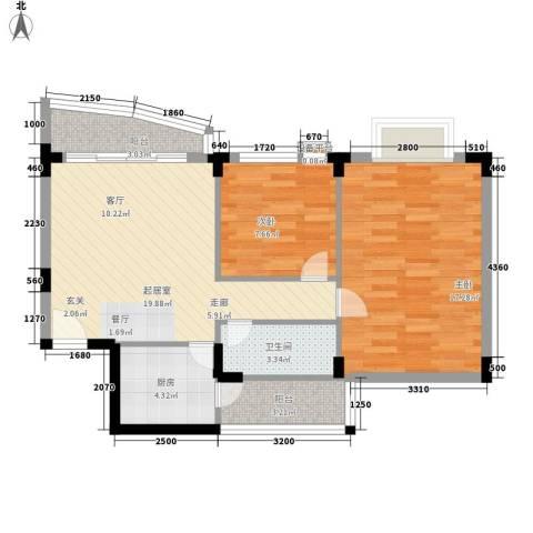 常平万科城2室0厅1卫1厨67.00㎡户型图