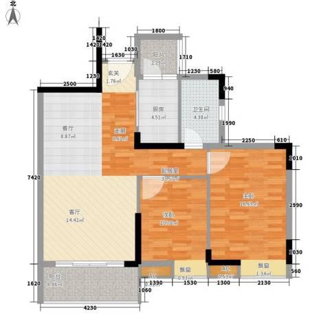 东田丽园五期2室0厅1卫1厨80.12㎡户型图