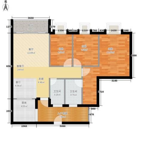 御琴华府3室1厅2卫1厨101.00㎡户型图