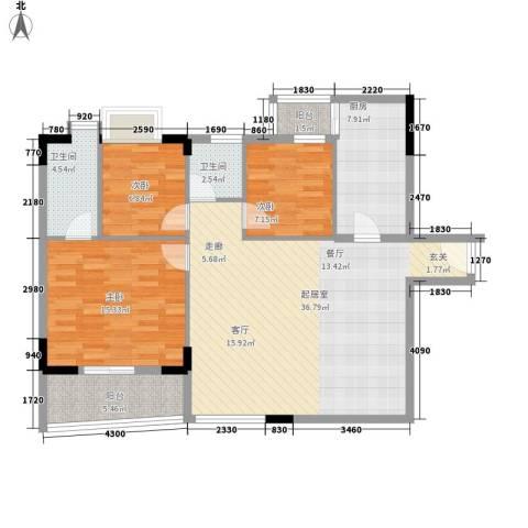 星汇华轩3室0厅2卫1厨125.00㎡户型图