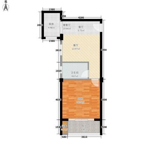 盛大晶座1室1厅1卫1厨58.00㎡户型图