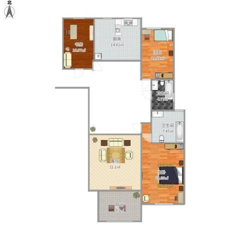 万国公馆3室1厅2卫1厨133.00㎡户型图