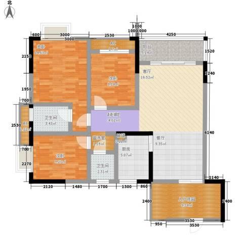 恒远帝都新城3室0厅2卫1厨136.00㎡户型图