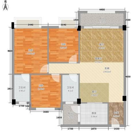 大福名城3室1厅2卫1厨130.00㎡户型图