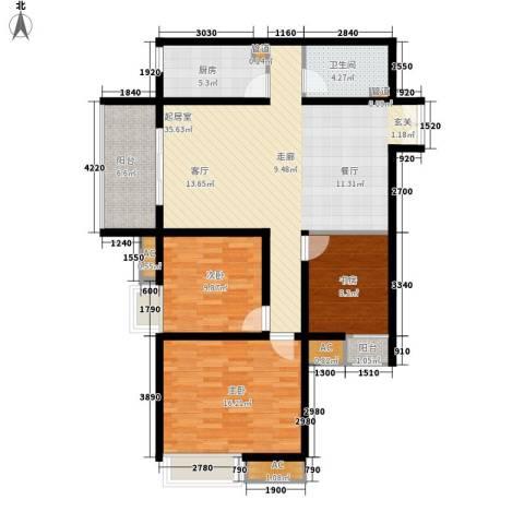 新兴骏景园三期3室0厅1卫1厨104.00㎡户型图