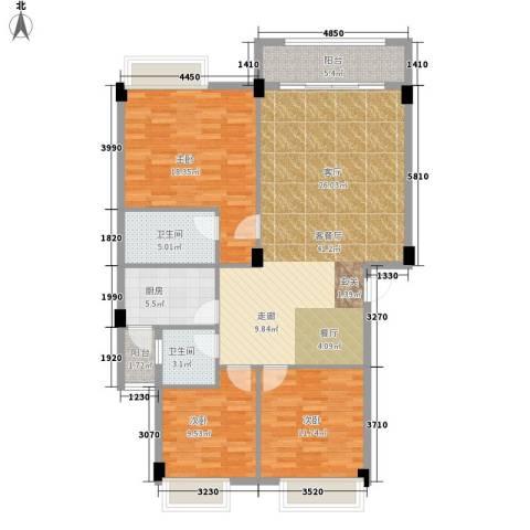 大福名城3室1厅2卫1厨141.00㎡户型图