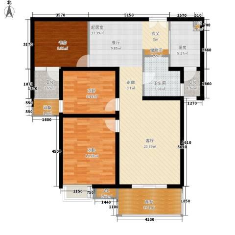 新兴骏景园三期3室0厅1卫1厨109.00㎡户型图