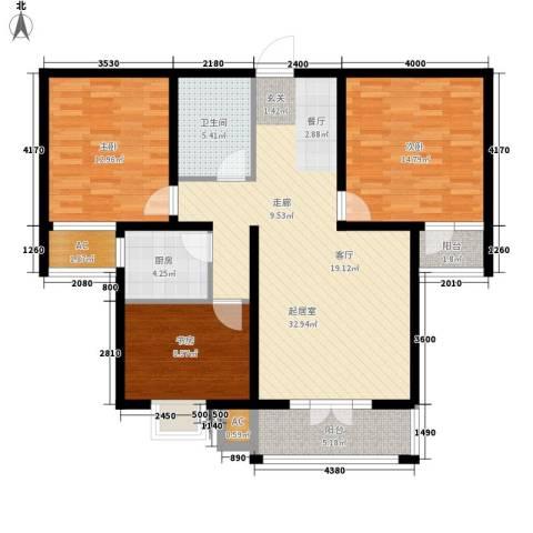汇通新城3室0厅1卫1厨123.00㎡户型图