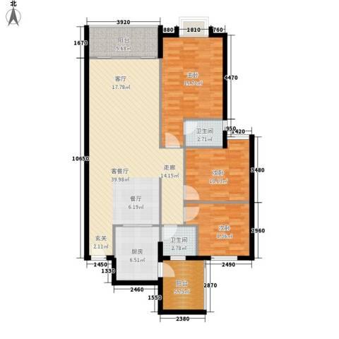 御琴华府3室1厅2卫1厨108.00㎡户型图