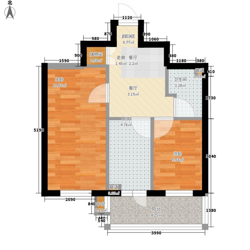 宏楠福园44.18㎡二室户型2室1厅1卫1厨