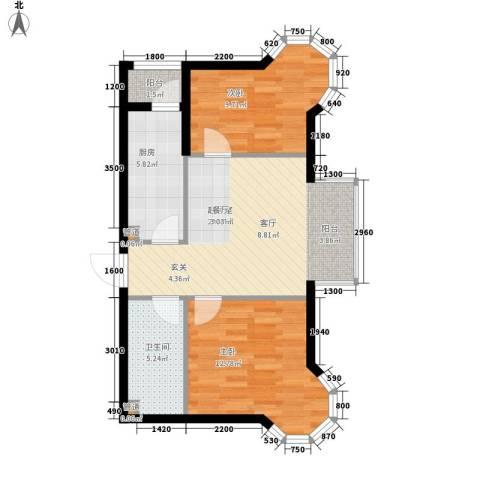 佳和新城六期2室0厅1卫1厨81.00㎡户型图