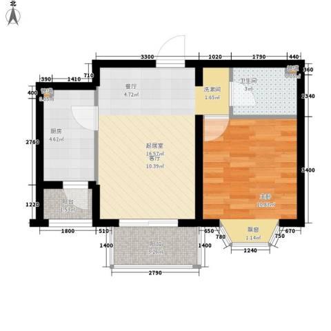 佳和新城六期1室0厅1卫1厨57.00㎡户型图