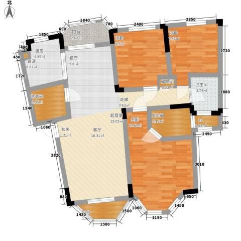 铭雅欧洲城3室0厅2卫1厨92.00㎡户型图