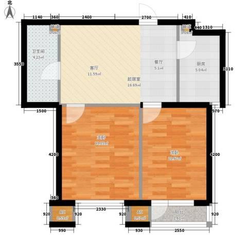 北国奥林匹克花园2室0厅1卫1厨60.85㎡户型图