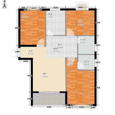枫桥水岸3室1厅2卫1厨110.00㎡户型图