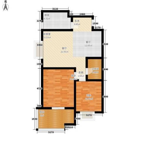 华宇凤凰城2室0厅1卫1厨90.00㎡户型图