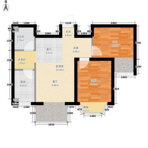 佳和新城六期2室0厅1卫1厨75.00㎡户型图