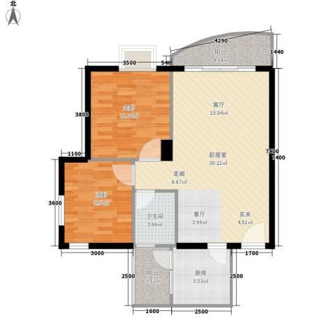 望谷・温泉小镇2室0厅1卫1厨88.00㎡户型图