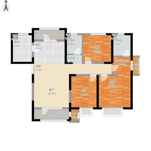 天安珑园3室1厅2卫1厨155.00㎡户型图