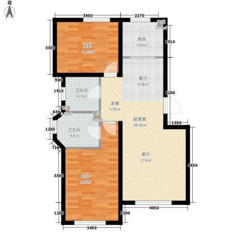 北国奥林匹克花园2室0厅2卫1厨80.44㎡户型图