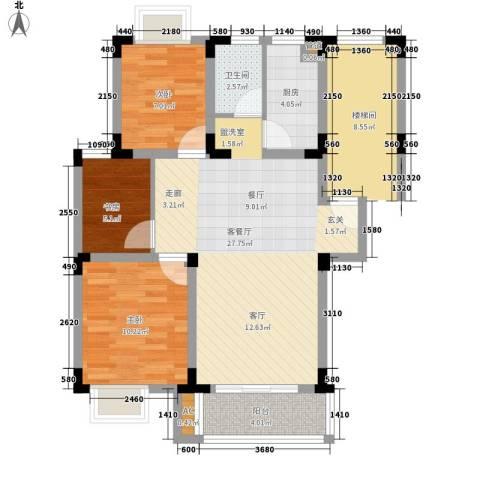 桃园小区3室1厅1卫1厨83.00㎡户型图