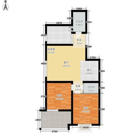 华宇凤凰城2室0厅2卫1厨93.00㎡户型图