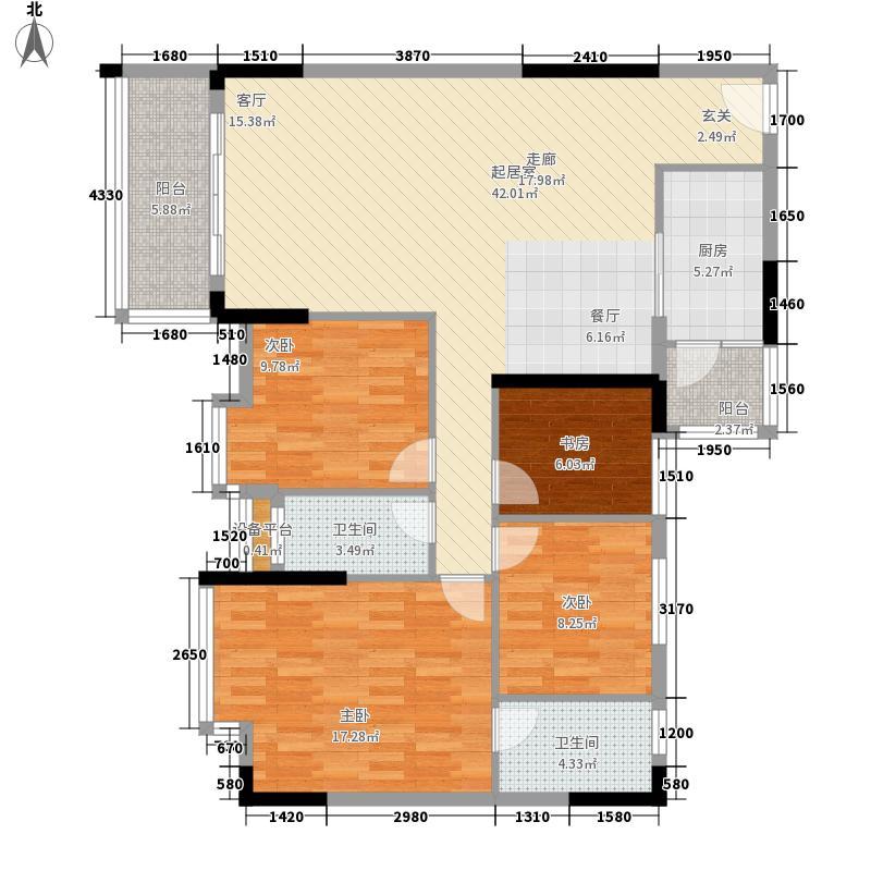 活力盈居户型图一期二区16座01 4室2厅2卫1厨