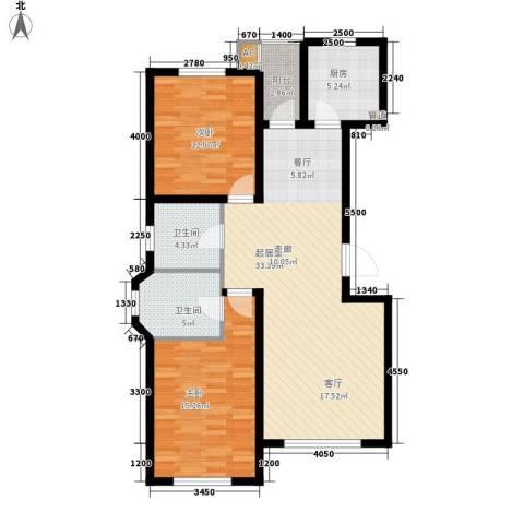 北国奥林匹克花园2室0厅2卫1厨89.45㎡户型图