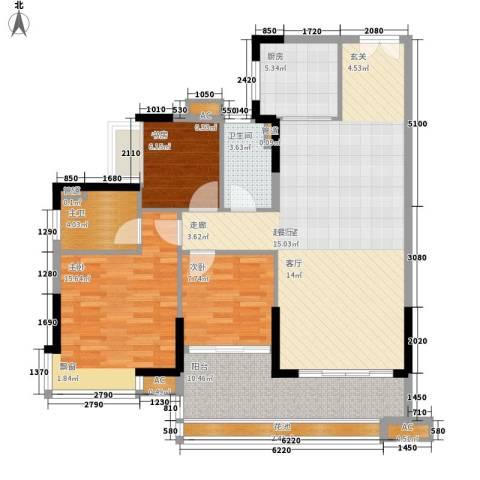芙蓉春晓3室0厅1卫1厨107.00㎡户型图