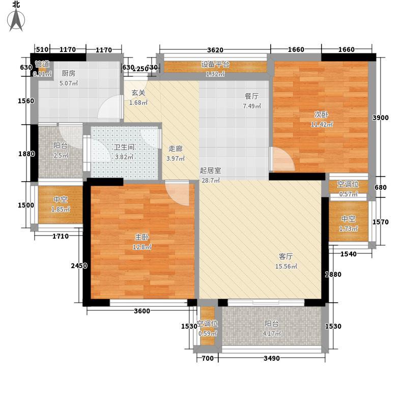 鸿业城市花园87.00㎡鸿业城市花园户型图10座04+05单位负数层2室2厅1厨户型2室2厅1厨