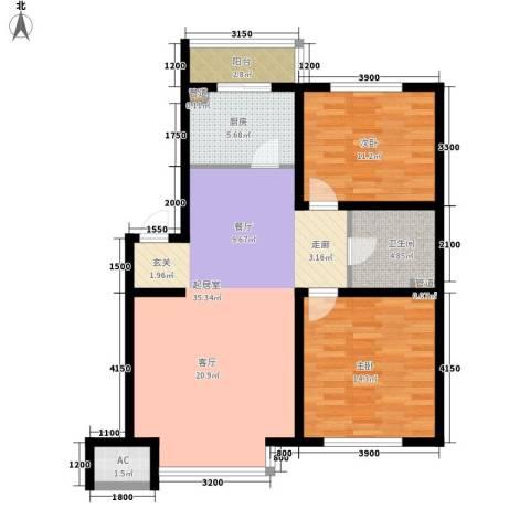 在水一方2室0厅1卫1厨100.00㎡户型图