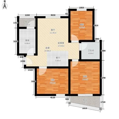 新地国际公寓御景3室0厅1卫1厨93.00㎡户型图
