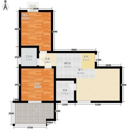 华宇凤凰城2室0厅1卫1厨88.00㎡户型图