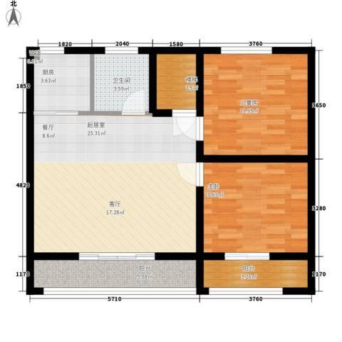 东华苑2室0厅1卫1厨96.00㎡户型图