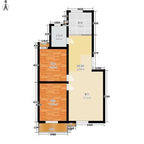 润源庭2室0厅1卫1厨91.00㎡户型图