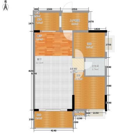 百合嘉园2室0厅1卫1厨83.00㎡户型图