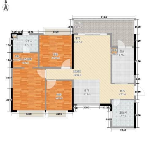 济南恒大名都3室0厅2卫1厨137.00㎡户型图