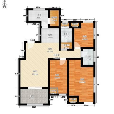 朱雀花园3室0厅2卫1厨124.00㎡户型图