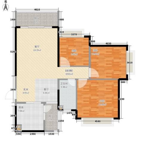 济南恒大名都3室0厅1卫1厨116.00㎡户型图