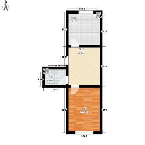 西梅庄1室1厅1卫1厨53.00㎡户型图