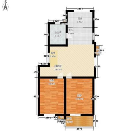 润源庭2室0厅1卫1厨86.00㎡户型图