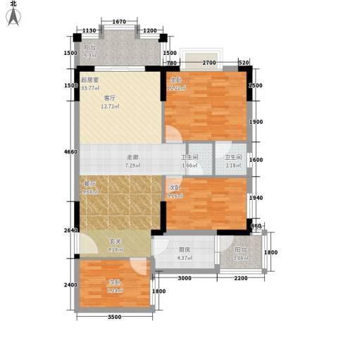 威斯登堡3室0厅2卫1厨97.00㎡户型图