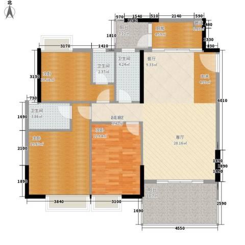 玫瑰园3室0厅3卫1厨104.75㎡户型图