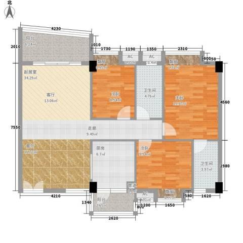 世纪康城3室0厅2卫1厨106.00㎡户型图