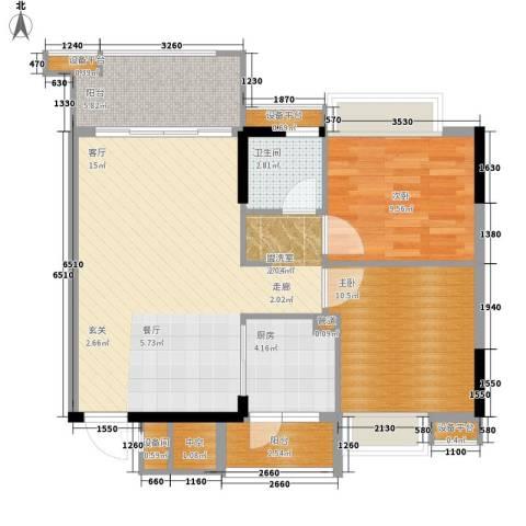 百合嘉园2室0厅1卫1厨75.00㎡户型图