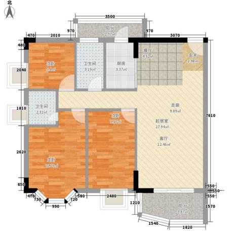 星汇华轩3室0厅2卫1厨78.00㎡户型图